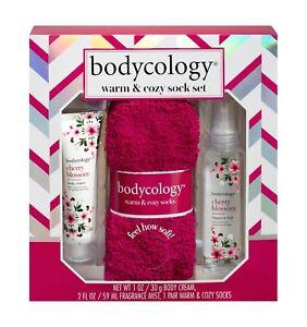 Bodycology Cherry Blossom Body Cream Fragrance Mist & Warm Socks Gift 3 Pcs Set