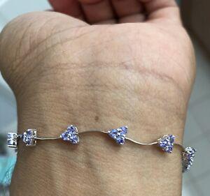 "Estate 14k White Gold Women's 1.08CT Tanzanite Tennis Bracelet 7"""