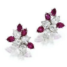 Floral 5Ct Pear Cut Ruby Simulant Diamond Stud Earrings White Gold Finish Silver