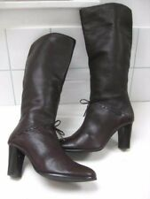 Ladies brown leather CARVELA knee high BOOTS size UK 5 retro steampunk victorian