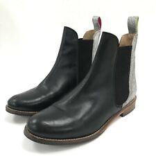 Joules Boots Ladies UK4 EU37 Black Leather Chelsea Pull On Block Heel 291829