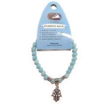 Pulsera Cuarzo Azul piedra Bolas 6mm mano de fátima/arbol de la vida ajustable