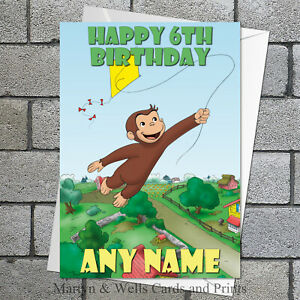Curious George birthday card. 5x7 inches. Chimp. Personalised plus envelope.