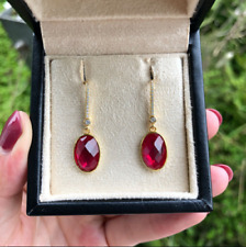 Delicate 4.20Ct Oval Cut Red Ruby Drop & Dangle Earrings 14K Yellow Gold Finish