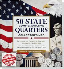 Hardcover US 50 States Commemorative Quarters Collector Maps Complete Album Mint