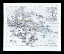 1877 Dumas-Vorzet Map - Oceania Australia New Zealand Hawaii East Indies Pacific