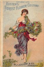 """Manchester NH  """"Austen's Forest Flower Cologne"""" 1800's 3 x 4.25"""" Tradecard"""