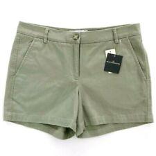 "LL BEAN SIGNATURE Women's 6 Shorts Mid Rise Green Chino Twill Shorts 4"" NWT"