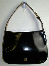 Moschino black brown elegant monogram leather purse w/ heart accent Italy