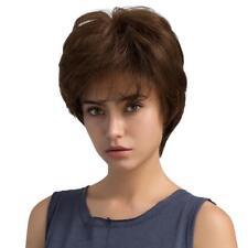 Perruque Femmes Vrai Cheveux Court Marron Moyen 10 pouces + Filet à Cheveux