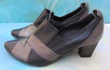 Fidji V312 Black Pewter Gray Slip On Dress Pump Heels Wm US 6.5 Portugal