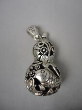 Collected Old China Tibet Silver Handmade Fish Flowers Perfume Amulet Decoration
