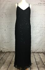 Women's JIGSAW Black Sequin Silk Party Special Occasion Sleeveless Dress Size 2