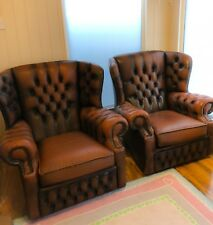 A Pair of Brown Genuine Leather Button Back Chairs, 2 x Armchairs For Sale