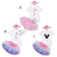 3PCS Baby Girls 1st Birthday Romper Tutu Skirt Dress Party Headband Clothes Set