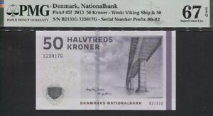 TT PK 65f 2013 DENMARK NATIONALBANK 50 KRONER PMG 67 EPQ SUPERB GEM UNCIRCULATED