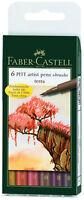 Faber Castell Pitt Artist Pens Terra Colors Set 6 Markers Brush Tip