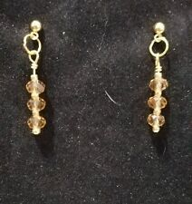 Yellow Crystal Bead Earrings with Gold Seed Beads on Gold Ball Post Findings