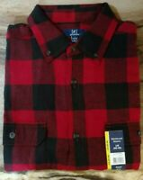 Men's GEORGE Buffalo Plaid Red/Black Flannel Shirts ~ Large and XL ~ NWT