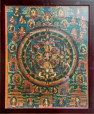 Ancienne Thangka Mandala sous un encadré en bois précieux fin 19e Tibet