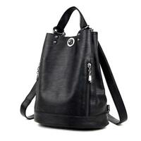 Women Backpack Female Faux Leather Bucket Shoulder Bag Casual Tote Pack