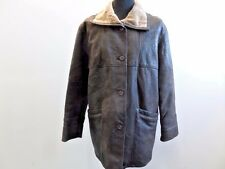"Fabiani Leather Shearling Coat Dark Brown 40 42"" Chest Grade A W650"