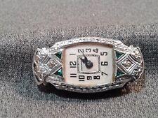 Gorgeous 1930's  Ladies Art Deco 14K White Gold Emerald & Diamond Wrist Watch