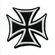 Iron Cross White Military Motorcycle P203 Embroidered Iron on Patch High Quality