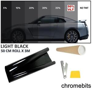 BLACK WINDOW TINT FILM CAR OFFICE HOME TINTING KIT LIGHT 50% 50 X300CM