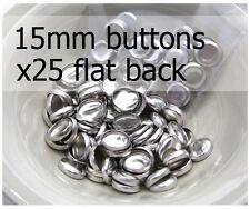 15mm self cover metal BUTTONS FLAT backs (sz 24) 25 QTY + FREE instructions
