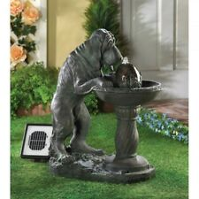 Dog Statue Solar Power or Electric Water Fountain Yard Patio Flower Bed Décor