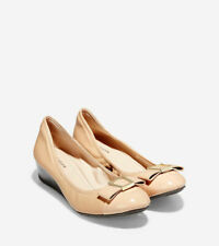 Cole Hann Women's Emory Bow Wedge (40mm) Nude Leather Size 8 NEW