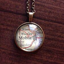 WHISTLER PRICHARD MOBILE ALABAMA USA Map Pendant Bronze necklace F04 ATLAS