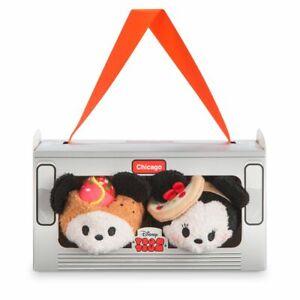 """Disney Store Mickey & Minnie Mouse Chicago Tsum Tsum 2pc Plush Set Toys 3 1/2"""""""