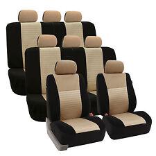 3D Airmesh Desgin Beige Black 3 Row 8 Seater SUV Van Truck Seat Cover Full Set