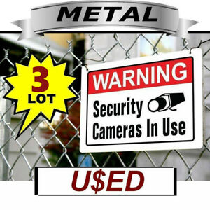 Lot 3 METAL Home Security Video Camera Alarm System Yard Warning Signs USED CCTV