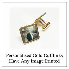 Personalised Photo Cufflinks -  Gold Custom Memory Gift, Wedding Wear Any Image