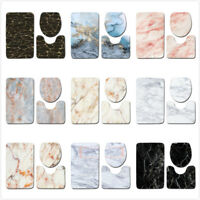 3Pcs Set Marble Pattern Bathroom Non-Slip Pedestal Rug Lid Toilet Cover Bath Mat