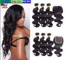 Body Wave Unprocessed Virgin Human Hair 3 Bundles w/4*4 Free Part Lace Closure
