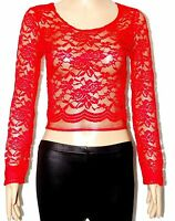 WOMEN LADIES FLORAL LACE LONG SLEEVE CROP TOP BLOUSE SIZE 6,8/10,12/14