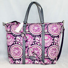 NWT $100 VERA BRADLEY 22326 Midtown Small Tote in Lei Flowers Faux Leather Trim
