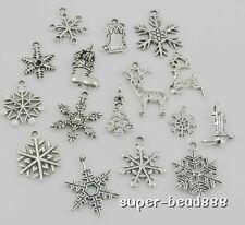 16pcs Tibetan Silver Mixed Christmas Snowflake Charms Festive Pendants Xmas