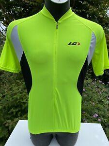 Louis Garneau Short sleeved High Vis Polyester Cycling Jersey 3/4 zip Large