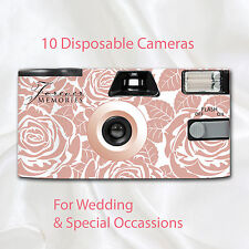 10 x Disposable Camera - Roses in Rose Gold Wedding flash 27exp with table cards
