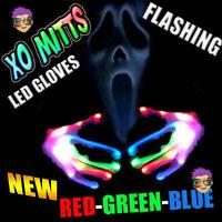 NEW! XBone XO Mitt LED Gloves RED GREEN BLUE LEDS Rave Light Up Flashing FUN!
