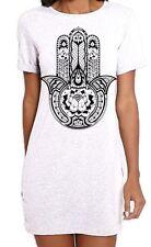 Tribal Hamsa Hand Of Fatima Tattoo Large Print Women's T-Shirt Dress