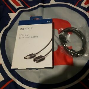 Insignia - 12' USB 2.0 A-Male-to-A-Female Extension Cable - Black, Bundle Of 5