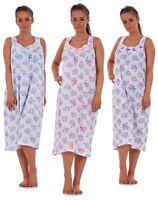 Ladies Women Nightwear Rose Print 100% Cotton Sleeveless Long Nightdress L-3XL