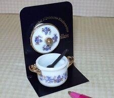 Miniature Reutter Porcelain Lovely Blue Onion Cookpot w/Spoon: DOLLHOUSE 1/12
