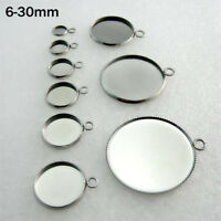50x Stainless Steel Pendants DIY Round Cabochon Blank Bezel Base Tray 6mm-30mm